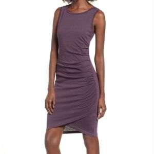 Leith Plum Ruched Body-con Dress